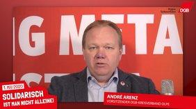 André Arenz, Vorsitzender des DGB-Kreisverband Olpe spricht zum 1. Mai. Besonders geht er auf die erschwerten Arbeitsbedingungen für die Beschäftigten in der Krise ein.