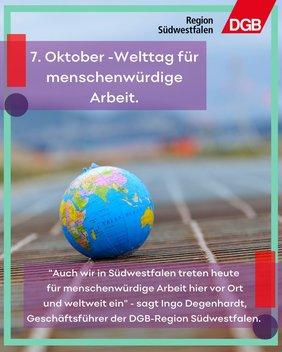 Heute ist der 07. Oktober: Welttag für menschenwürdige Arbeit