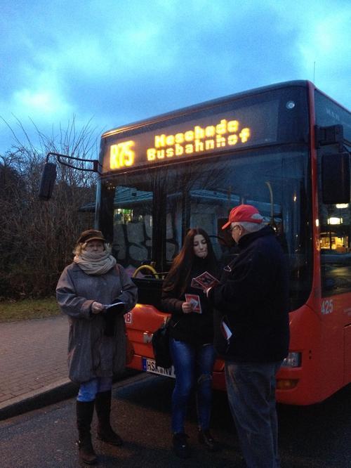 """DGB-Pendleraktion zum Thema """"Mindestlohn"""" in Meschede"""